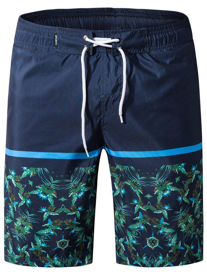 Store Drawstring Panel Leaves Print Board Shorts