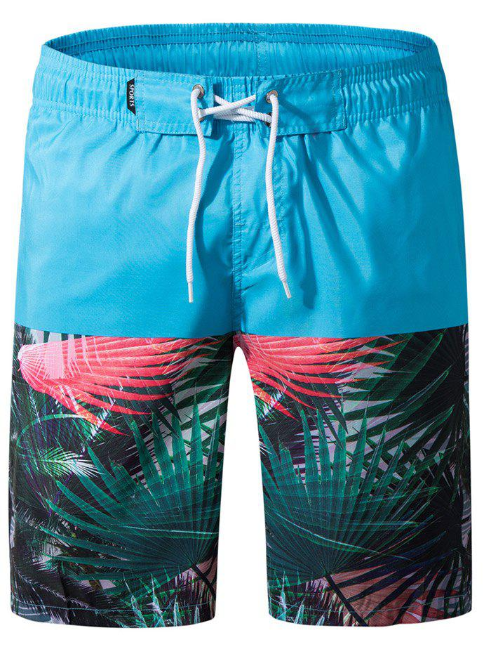 New Leaves Print Panel Drawstring Bermuda Shorts