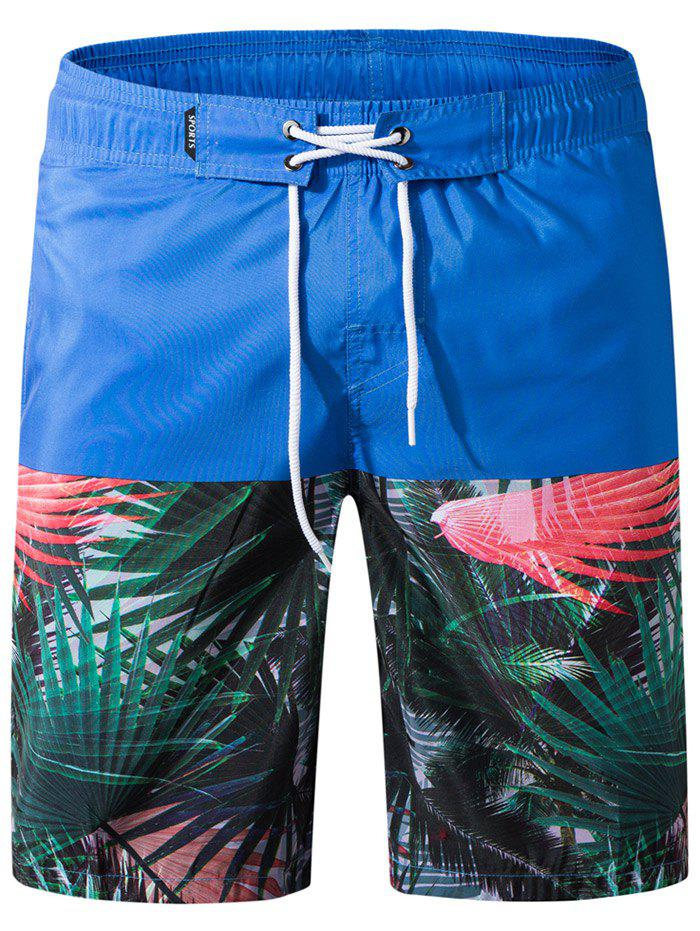 Store Leaves Print Panel Drawstring Bermuda Shorts