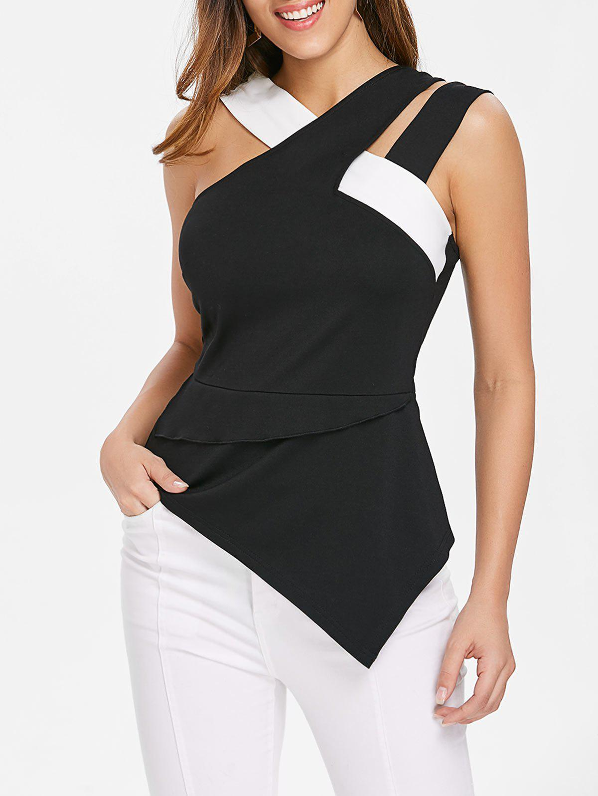 Latest Back Zip Asymmetrical Tank Top