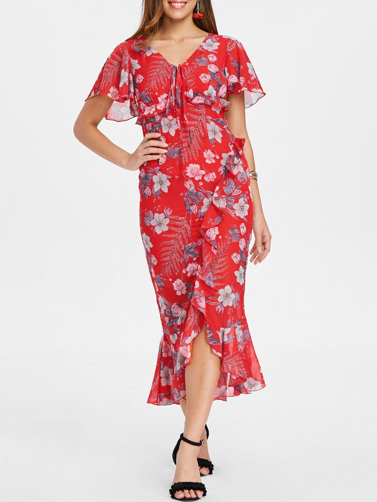 Chic Floral V Neck Ruffle Midi Dress