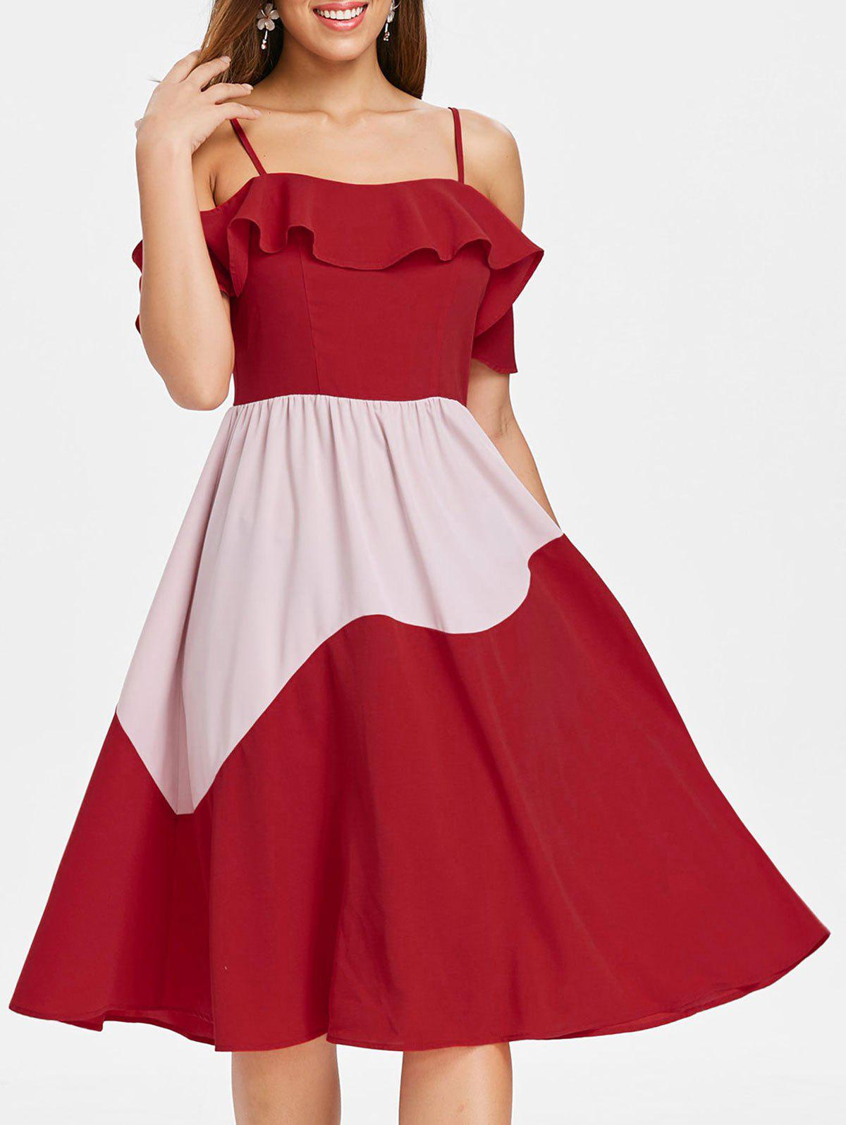 Outfits Color Block Ruffle Chiffon Midi Dress