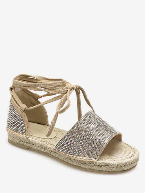 Chic Lace Up Espadrille Crystals Leisure Travel Sandals