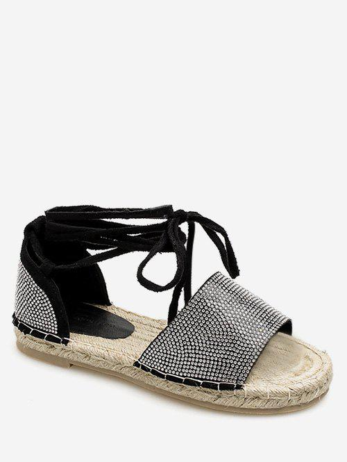 Store Lace Up Espadrille Crystals Leisure Travel Sandals