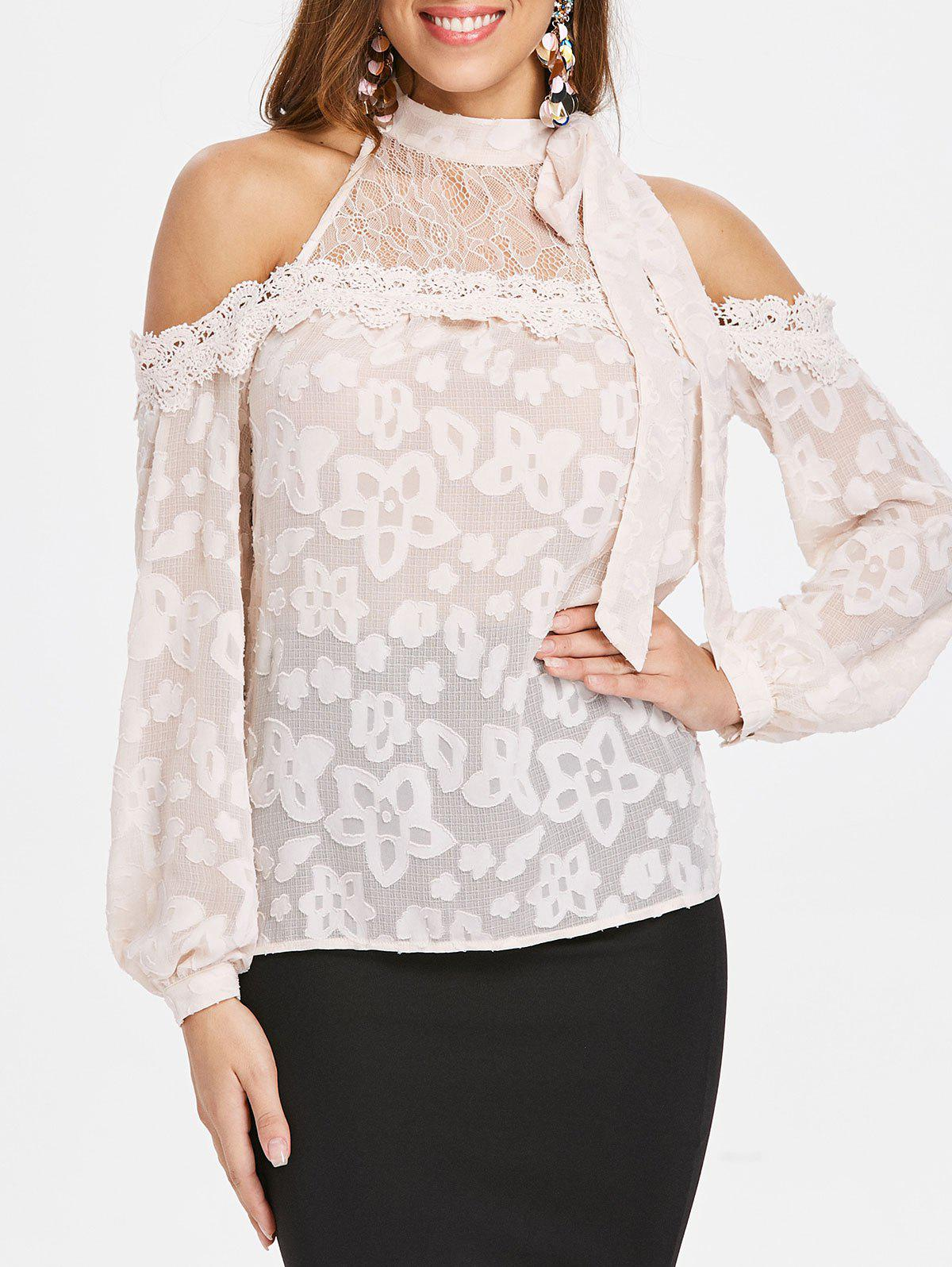 Cheap Cold Shoulder Lace Insert Long Sleeve Blouse
