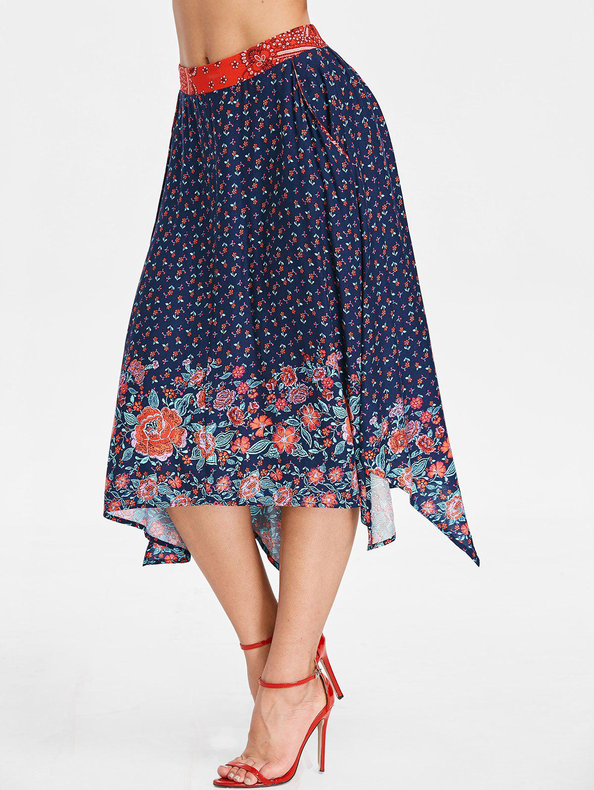 Online Print Asymmetric Tea Length Skirt