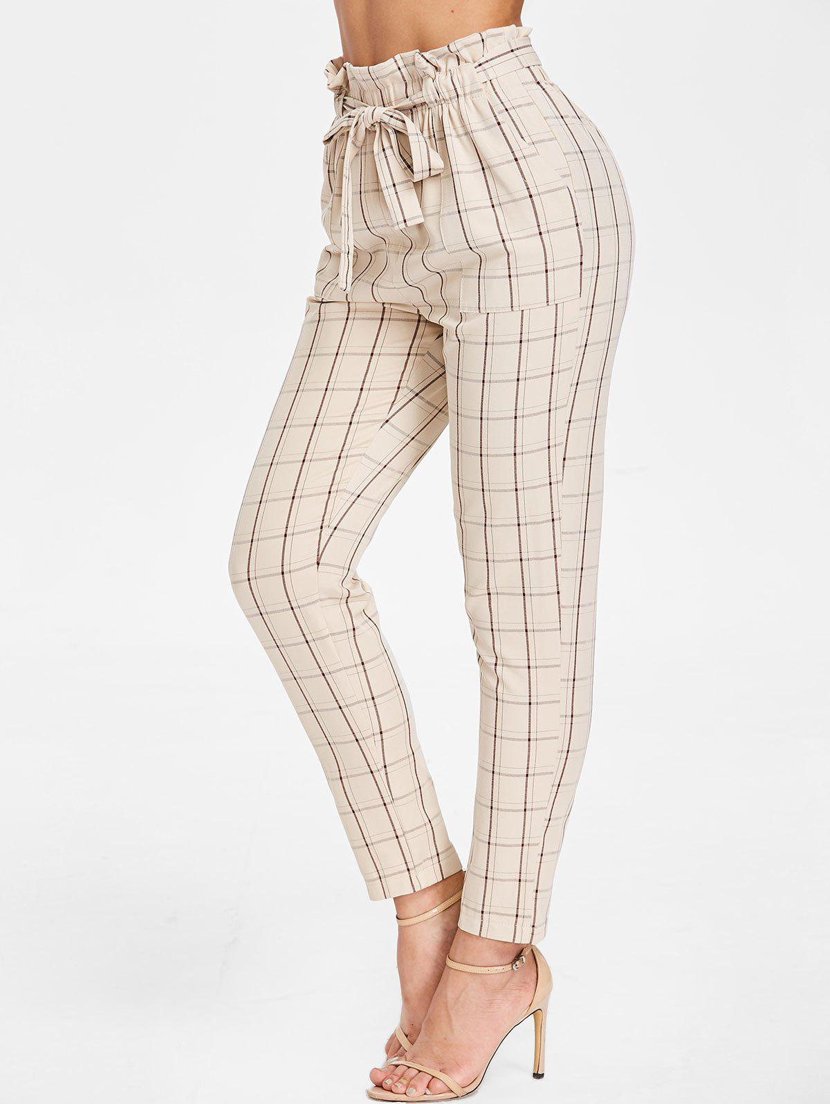 Shops Belted Elastic Waist Plaid Pants