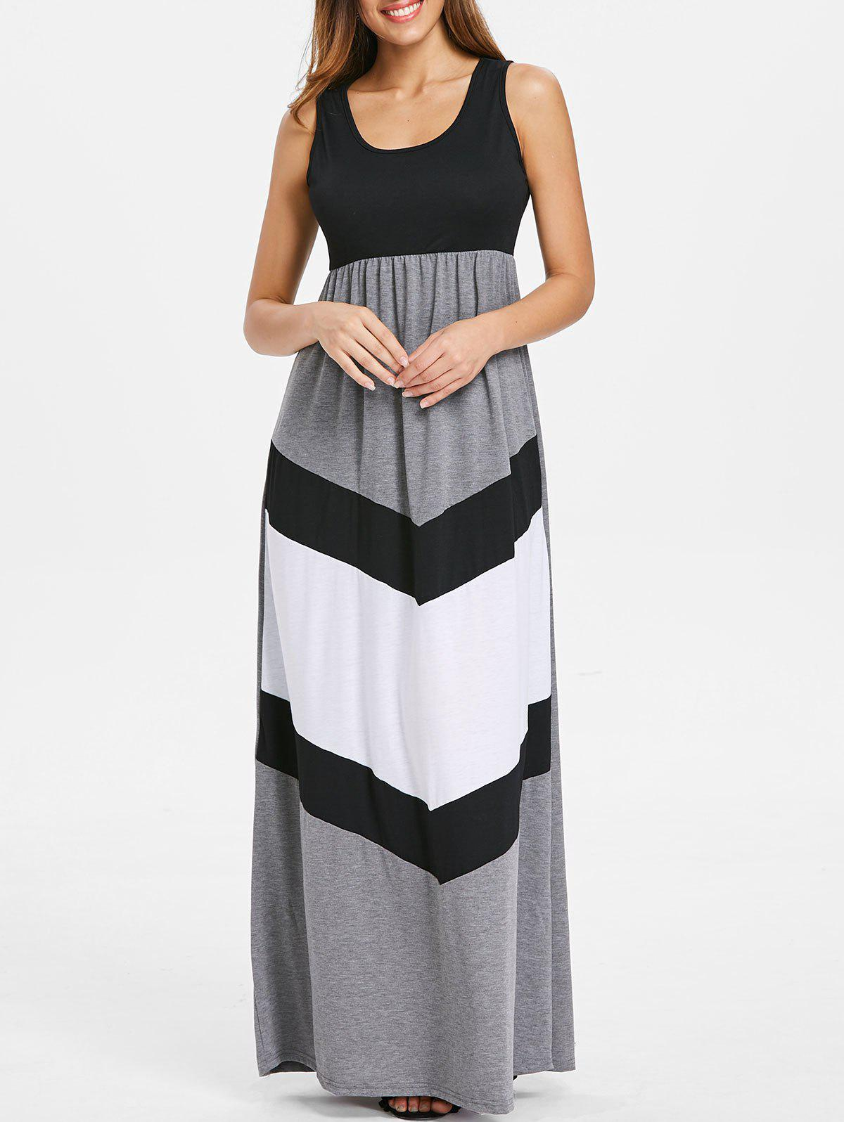 Affordable Color Block Scoop Neck Floor Length Dress