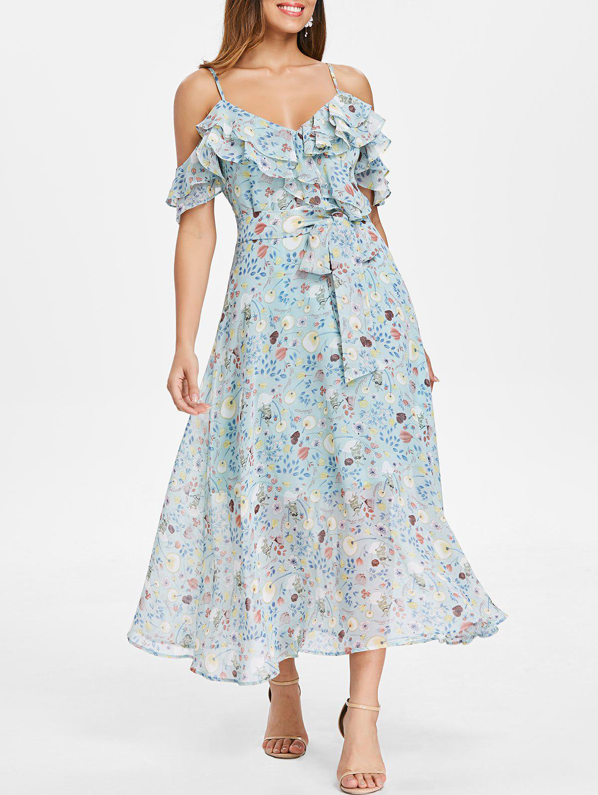 Trendy Floral Ruffle Tie Waist Cold Shoulder Midi Dress