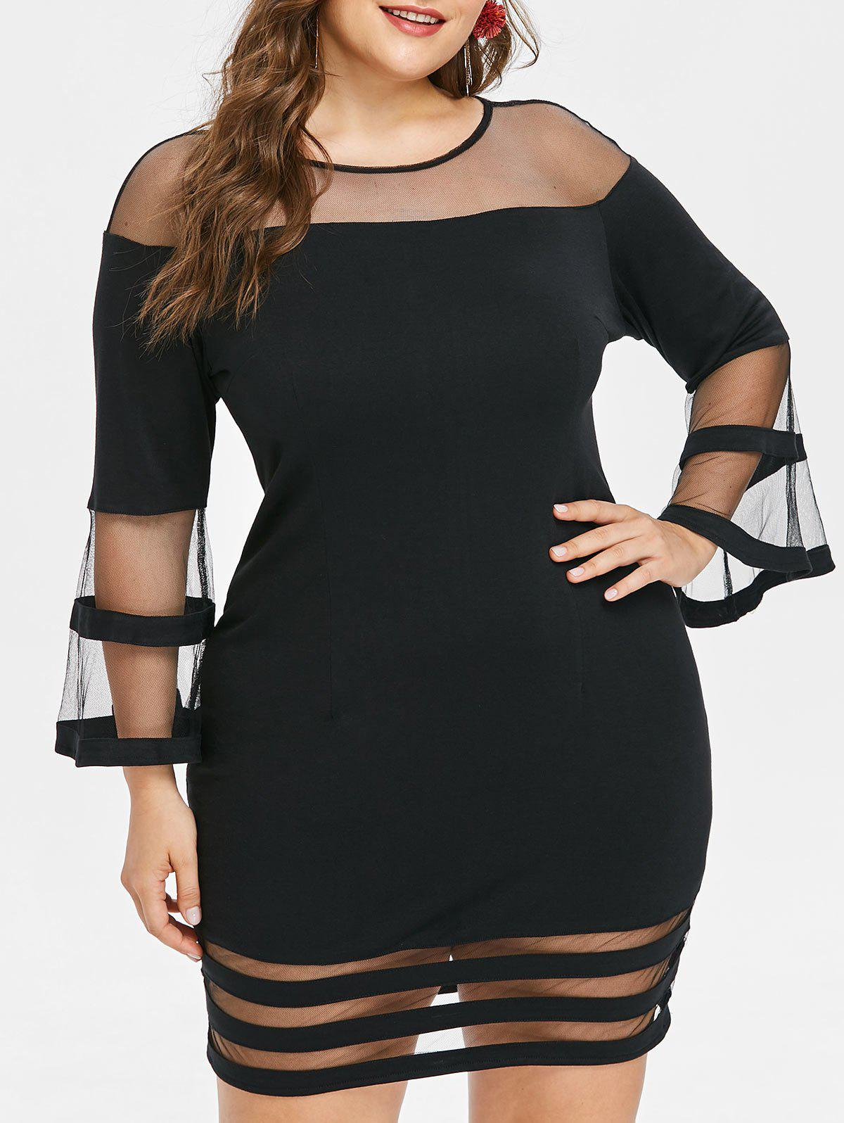 Sale Plus Size Mesh Insert Bodycon Dress