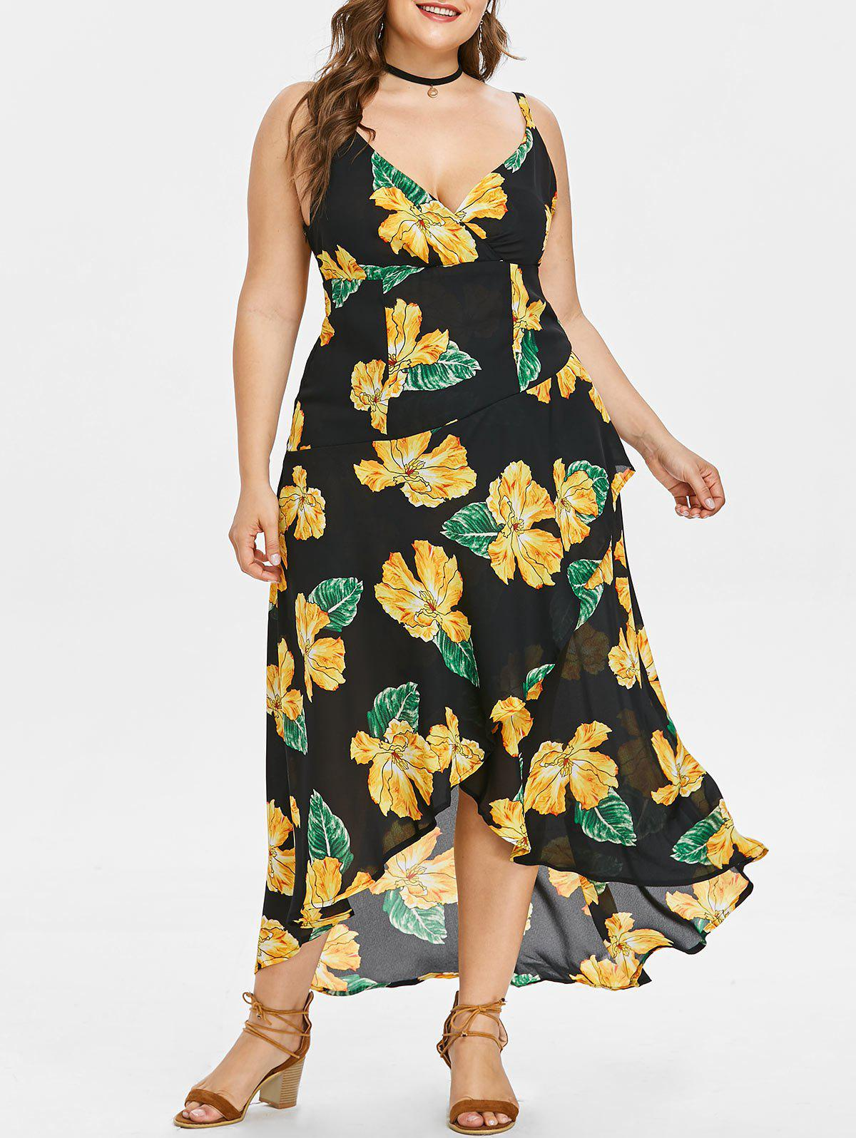 Fancy Plus Size Print Surplice Flowy Dress