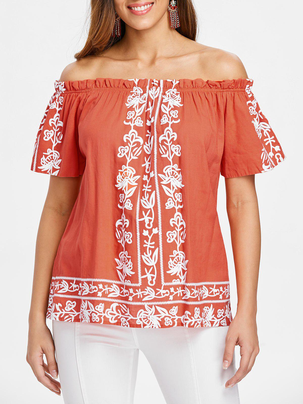 Trendy Off The Shoulder Ruffle Hemline Printed Blouse