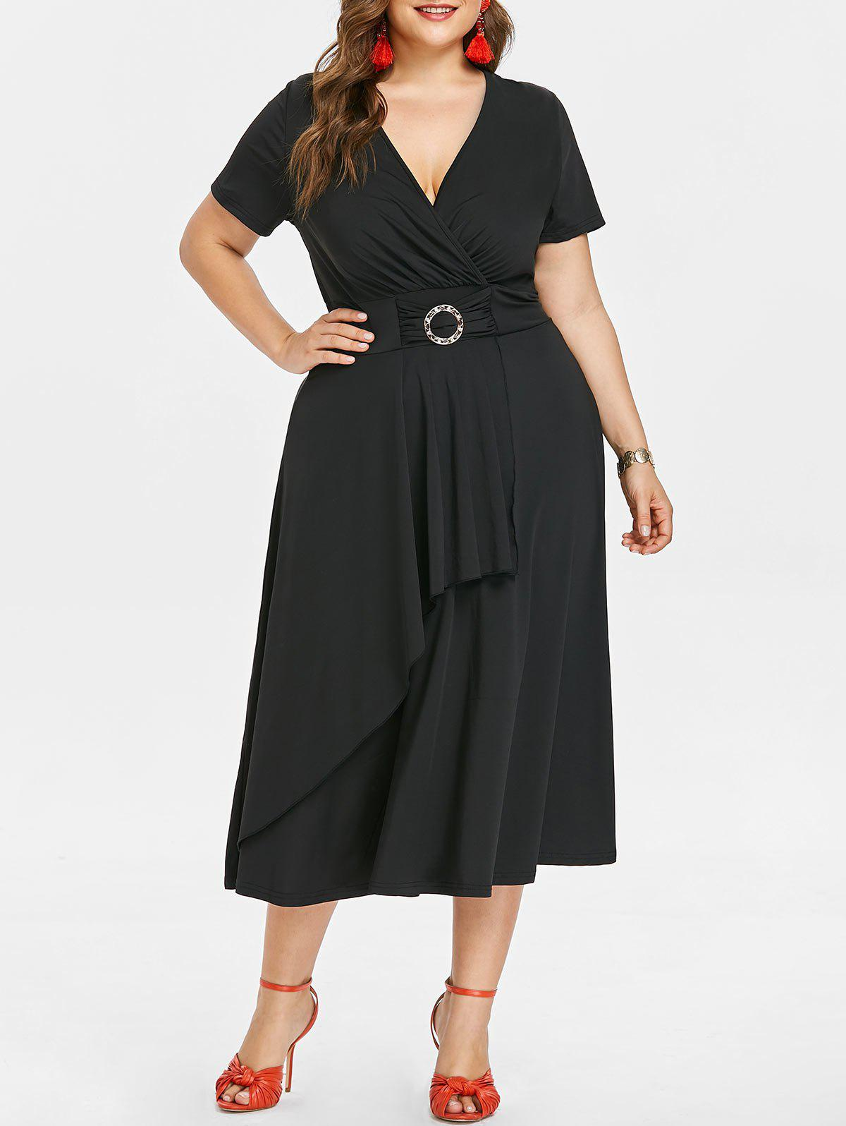 Affordable Plunging Neck Plus Size Asymmetrical Dress