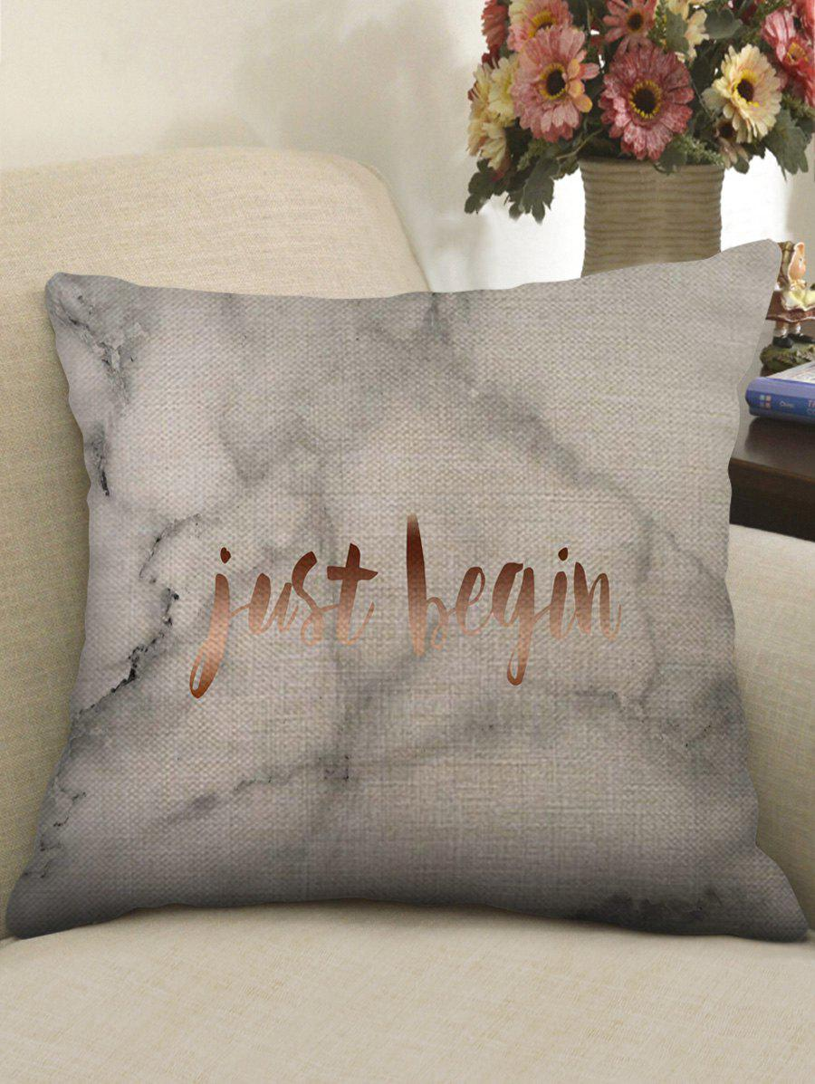 Chic Marble Grain and Letters Print Pillowcase