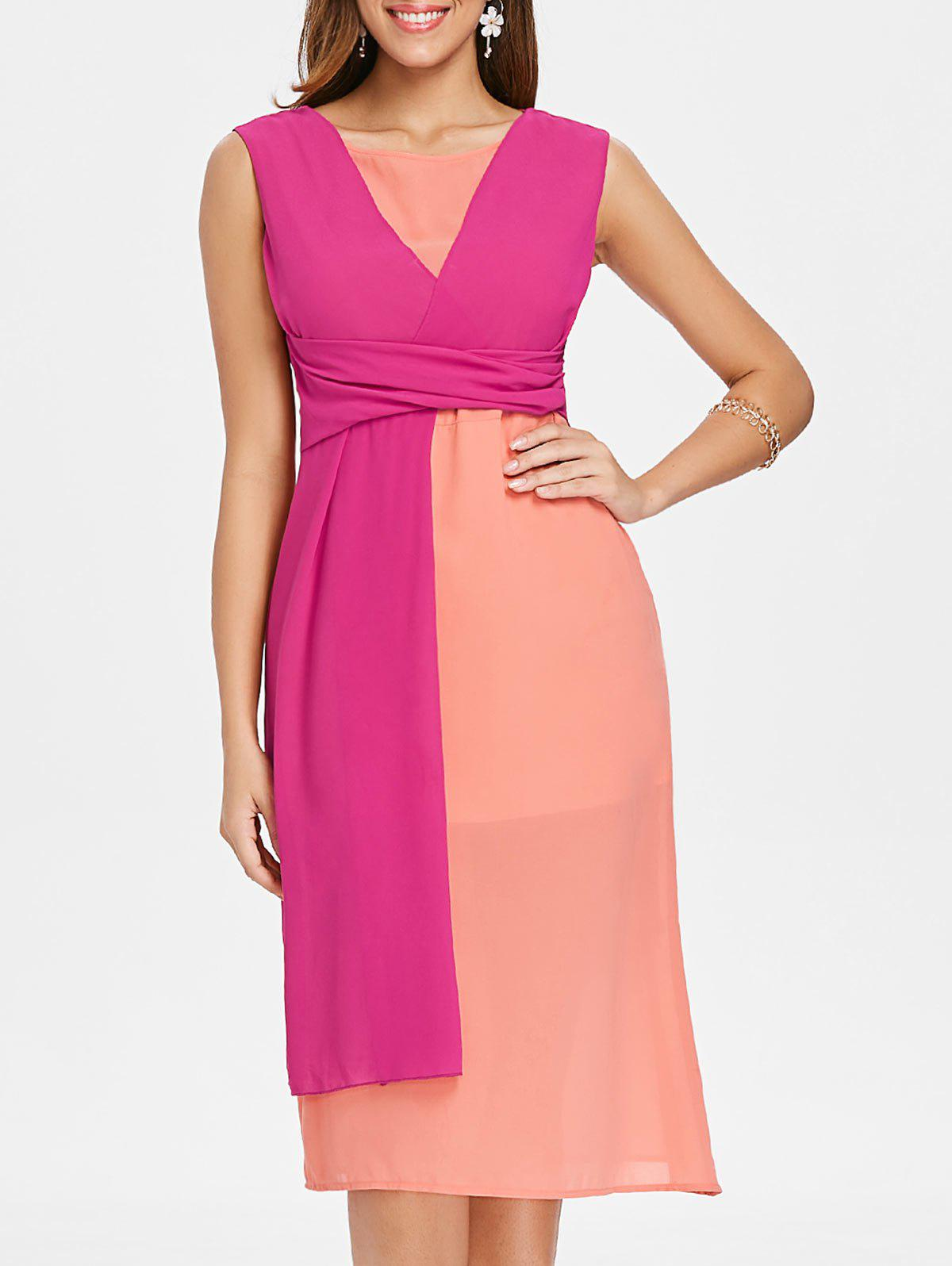 Hot Color Block Patchwork Casual Midi Dress