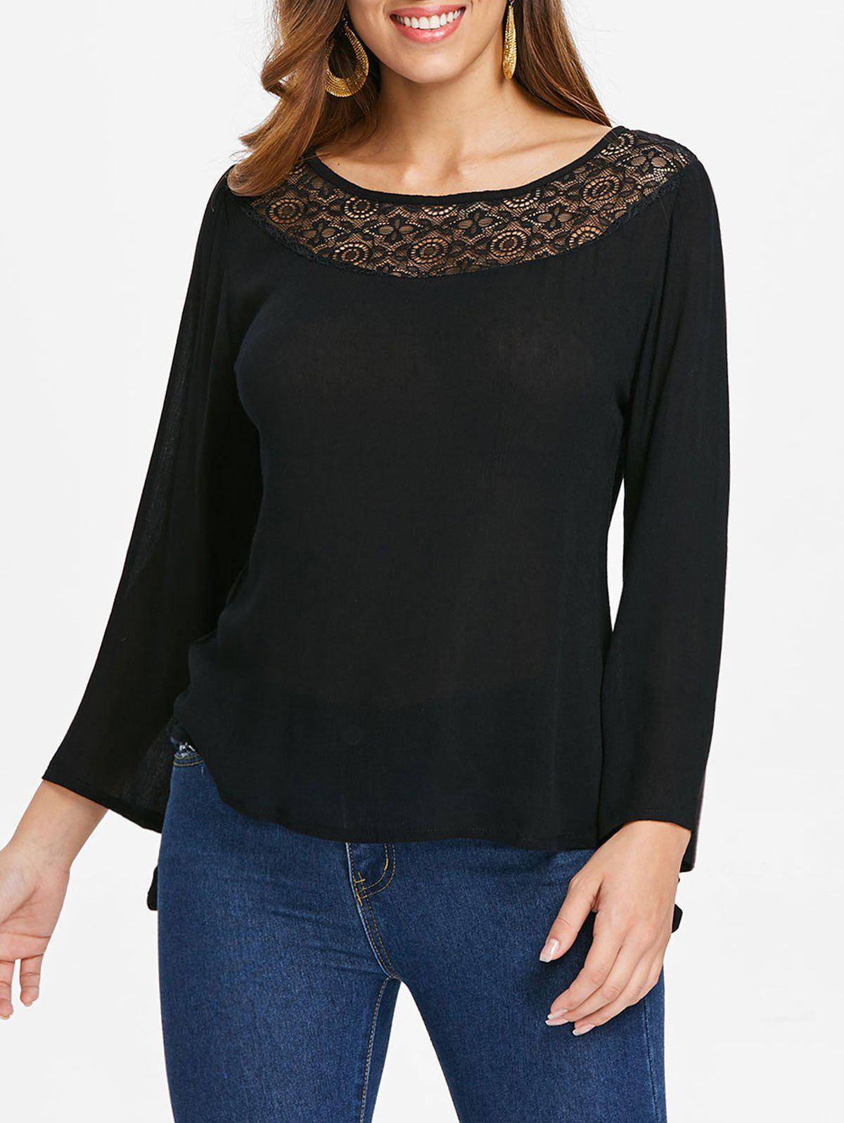 Buy Lace Panel Bell Sleeve T-shirt