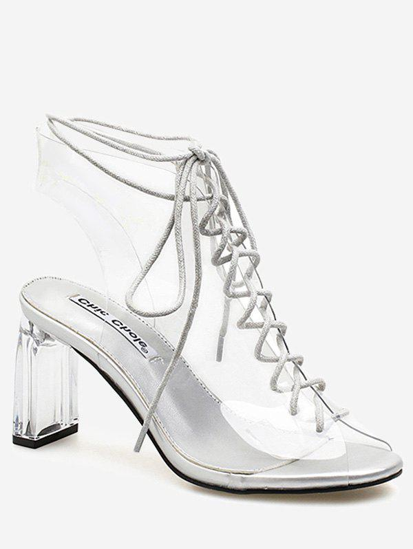 Online Peep Toe High Heel Transparent Cut Out Sandals