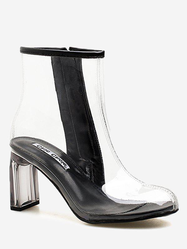 Chic Block Heel Chic Transparent PVC Ankle Boots