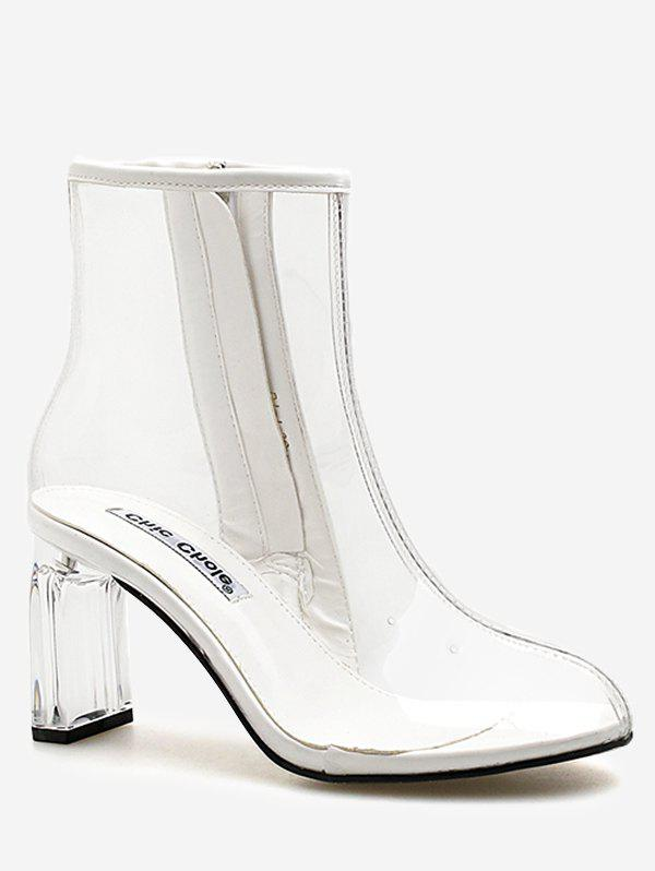 Discount Block Heel Chic Transparent PVC Ankle Boots