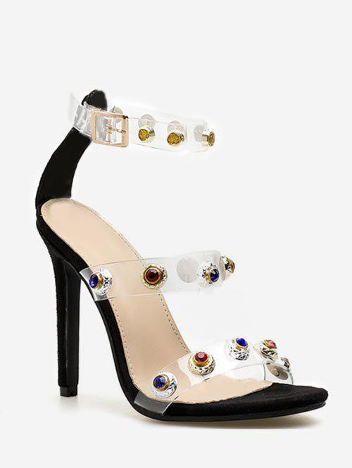 Rhinestone Lucid Strap High Heel Pumps