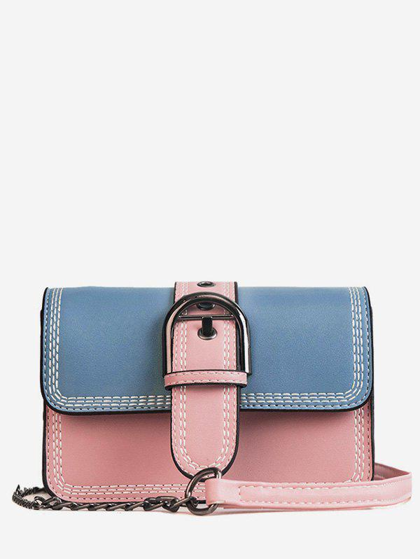 Best Color Block Stitches Buckled Flap Crossbody Bag