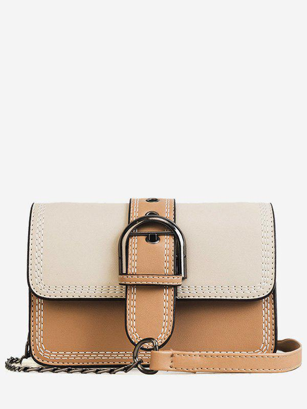 Fashion Color Block Stitches Buckled Flap Crossbody Bag
