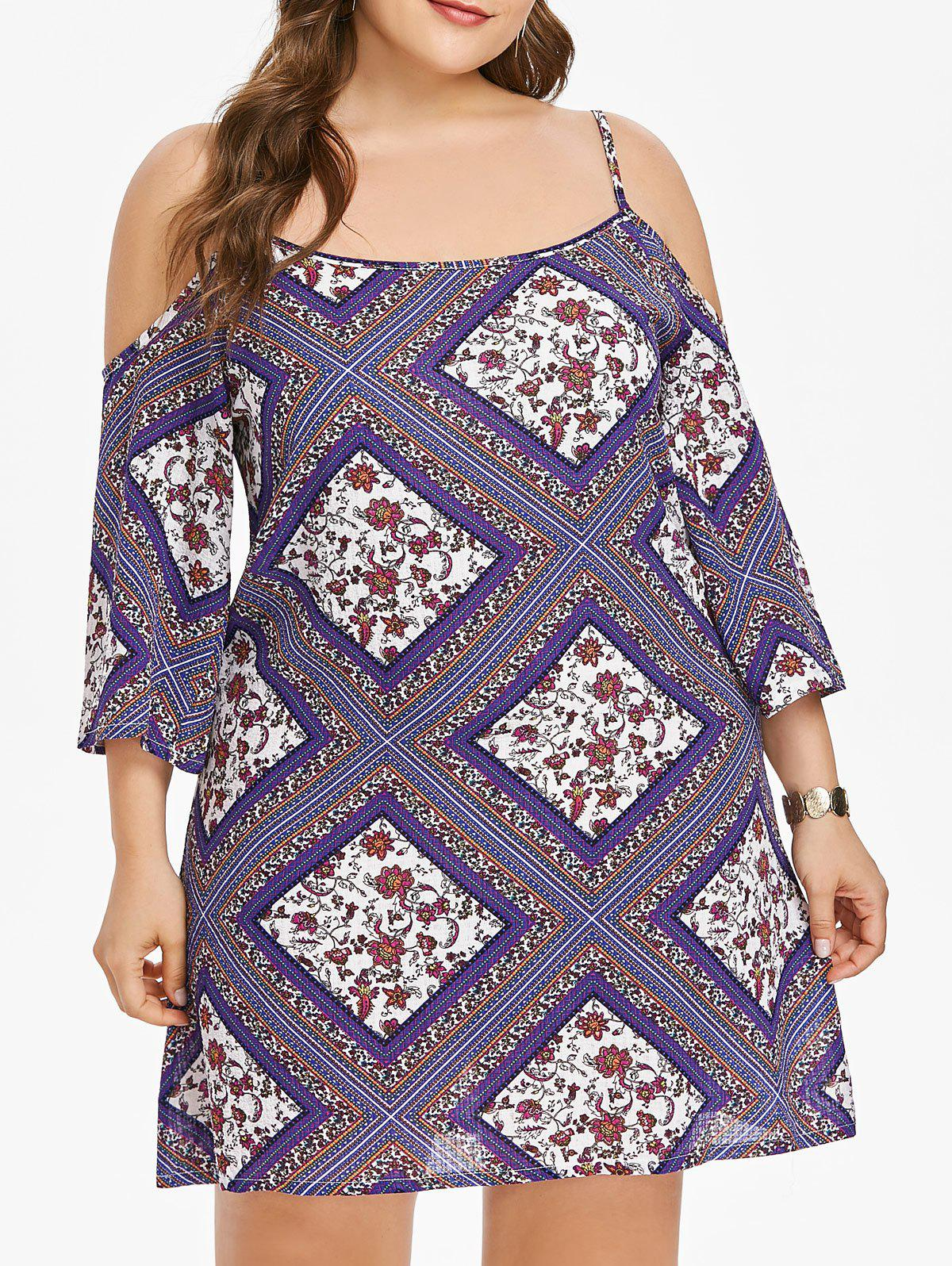 Online Open Shoulder Plus Size Ethnic Print Shift Dress
