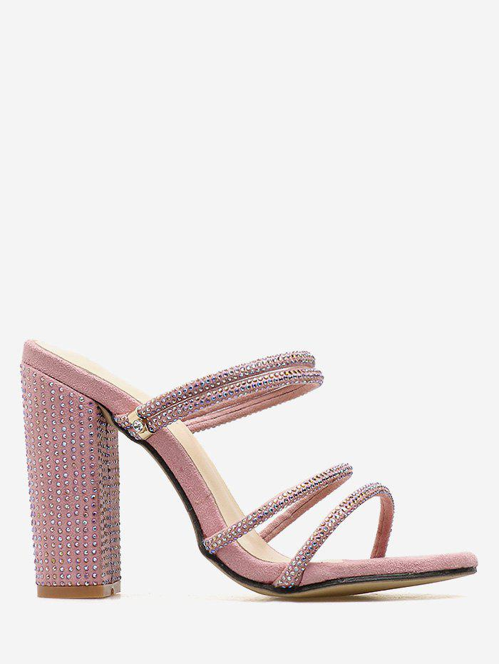 Unique Rhinestone Strap Block Heel Pumps