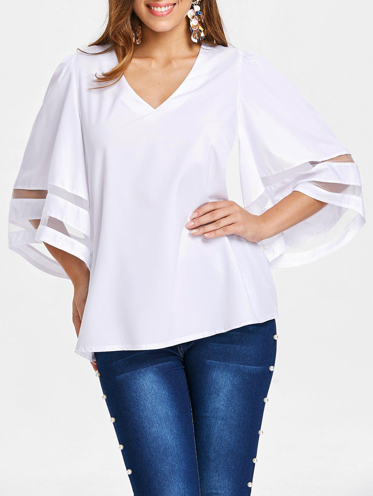 Outfits Mesh Panel Sleeve V Neck Blouse