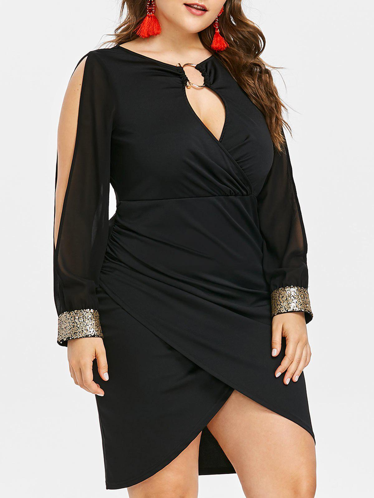 e2de7c0f95 47% OFF  Keyhole Neck Plus Size Slit Bodycon Dress