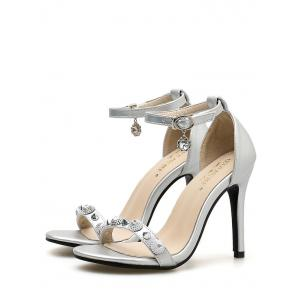 Ankle Strap Rivet Stiletto Heel Pumps -