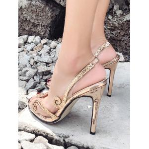 Peep Toe Sequin Stiletto Heel Slingbacks Pumps -