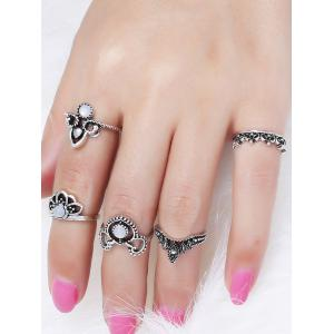 Retro Faux Gem Hollow Out Crown Ring Set -
