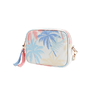Leisure Holiday Tropical Leaves Print Tassels Crossbody Bag -