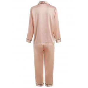 Satin Stripe Insert Pajama Set -