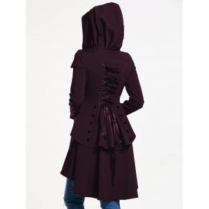 Lace Up Layered High Low Hooded Coat -