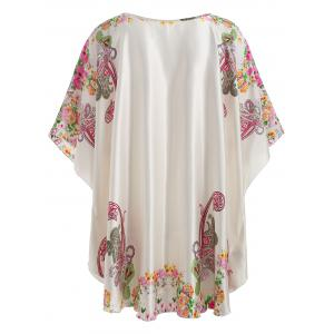 Satin Batwing Sleeve Print Nightdress -