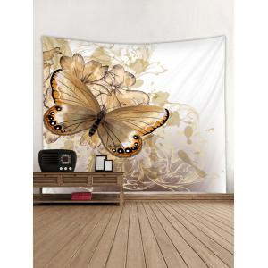 Wall Hanging Art Vintage Butterfly and Flowers Print Tapestry -