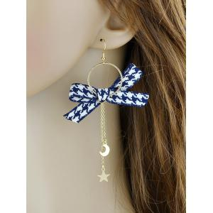 Circle Long Chain Earrings With Bow -
