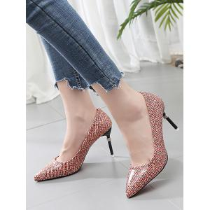 Leisure Patchwork Stiletto Heel Pointed Toe Pumps -