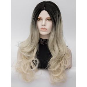 Long Center Parting Colormix Wavy Party Synthetic Wig -