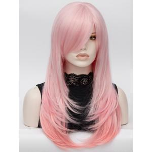 Long Oblique Bang Layered Colormix Straight Lolita Synthetic Wig -
