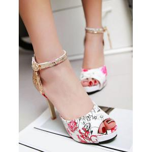 Plus Size High Heel Patchwork Metal Tassels Sequined Sandals -