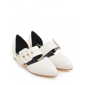 Plus Size Casual Buckled Pointed Toe Flats -