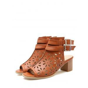 Plus Size Hollow Out Floral Casual Peep Toe Sandals -