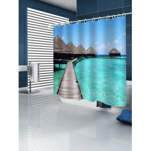 Bridge Sea Print Waterproof Bathroom Curtain -