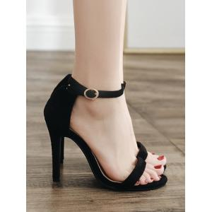 Round Toe Strap Stiletto Heel Pumps -