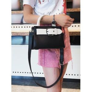 Minimalist PU Leather Color Block Handbag with Strap -