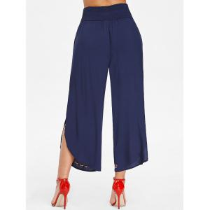 Shirred Waist Embroidered Palazzo Pants -