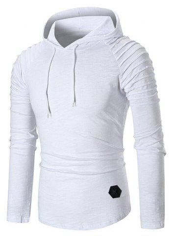 Buy Pleated Raglan Sleeve Hem Curved Hooded Tee